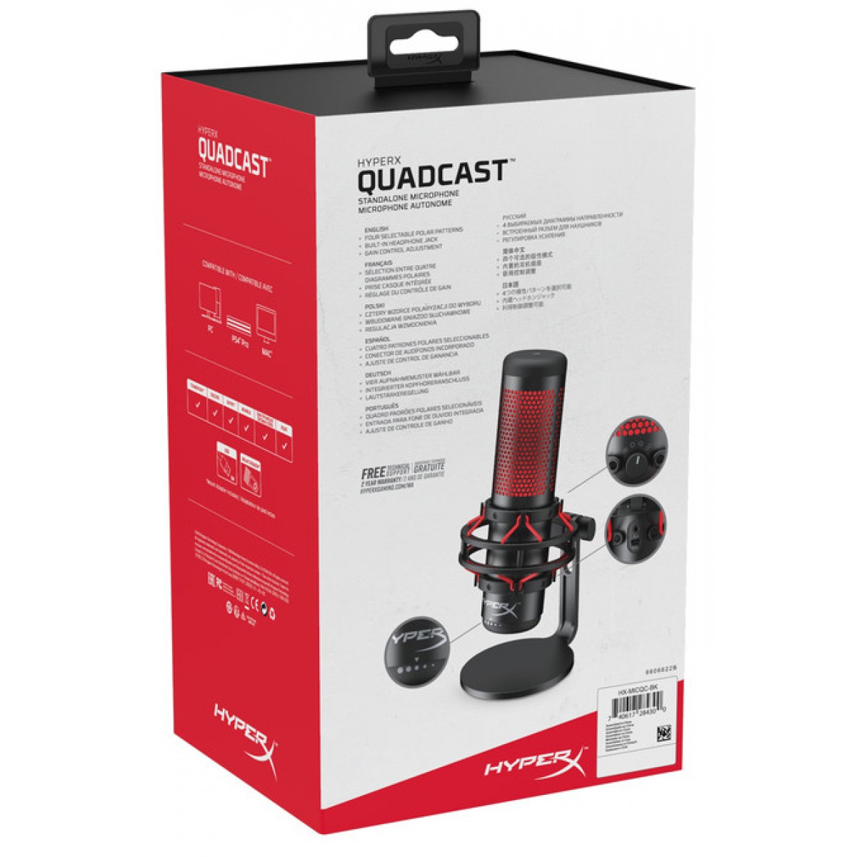 Microfone HyperX QuadCast, USB, PC/PS4/MAC, HX-MICQC-BK