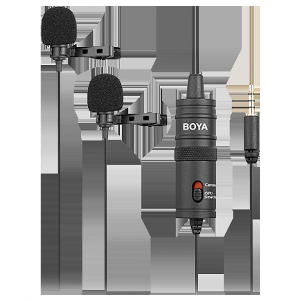 Microfone de Lapela Boya BY-M1DM, Omnidirecional duplo, 65hz~18Khz
