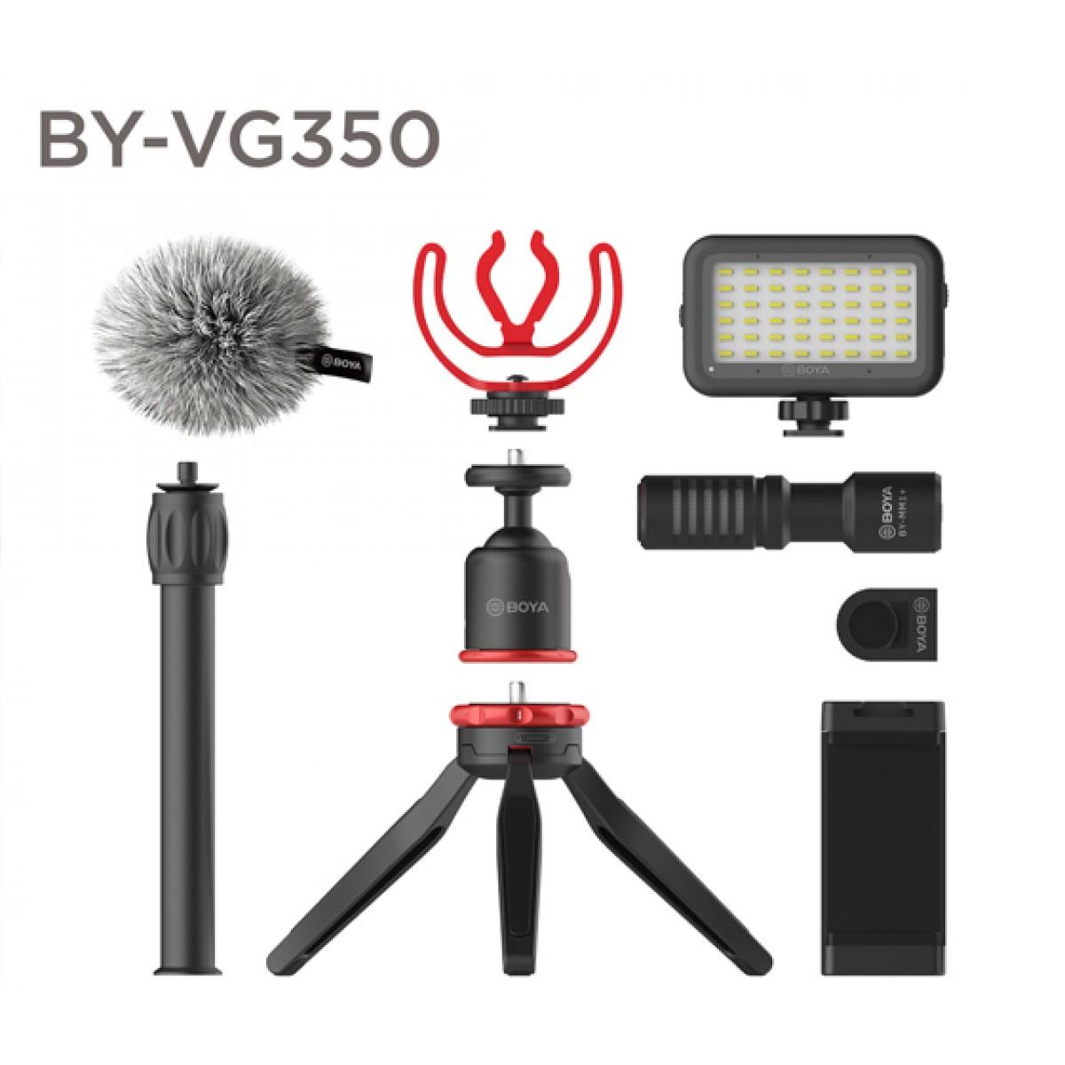 Microfone para Smartphone BOYA BY-VG350, Com Tripé, Com Luz, TRS/TRRS, Black
