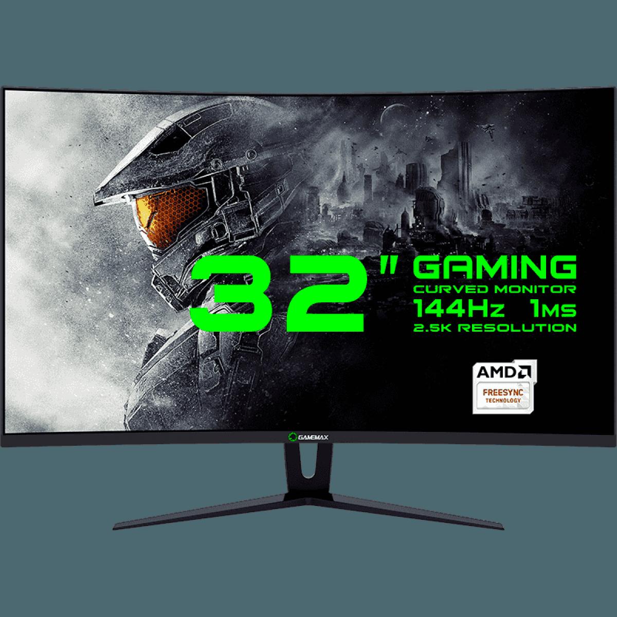 Monitor Gamer GameMax 32 Pol Curvo, WQHD, 144Hz, 1ms, GMX32CEWQBR