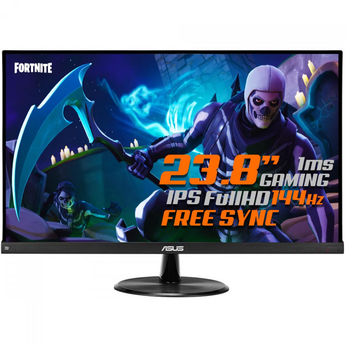 Monitor Gamer Asus 23,8 Pol, Full HD, Widescreen, 144Hz, 1ms, IPS, HDMI, DisplayPort, FreeSync Premium, VP249QGR