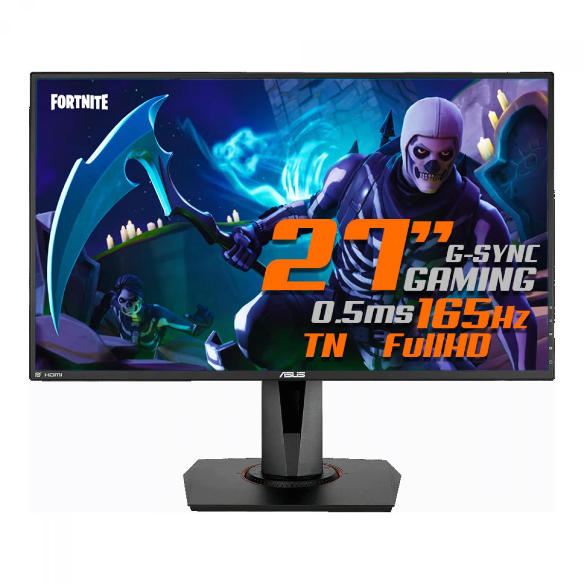 Monitor Gamer ASUS 27 Pol, Full HD, 165Hz, 0,5ms, G-Sync, HDMI/DP/DVI, Altura Ajustável, VG278QR