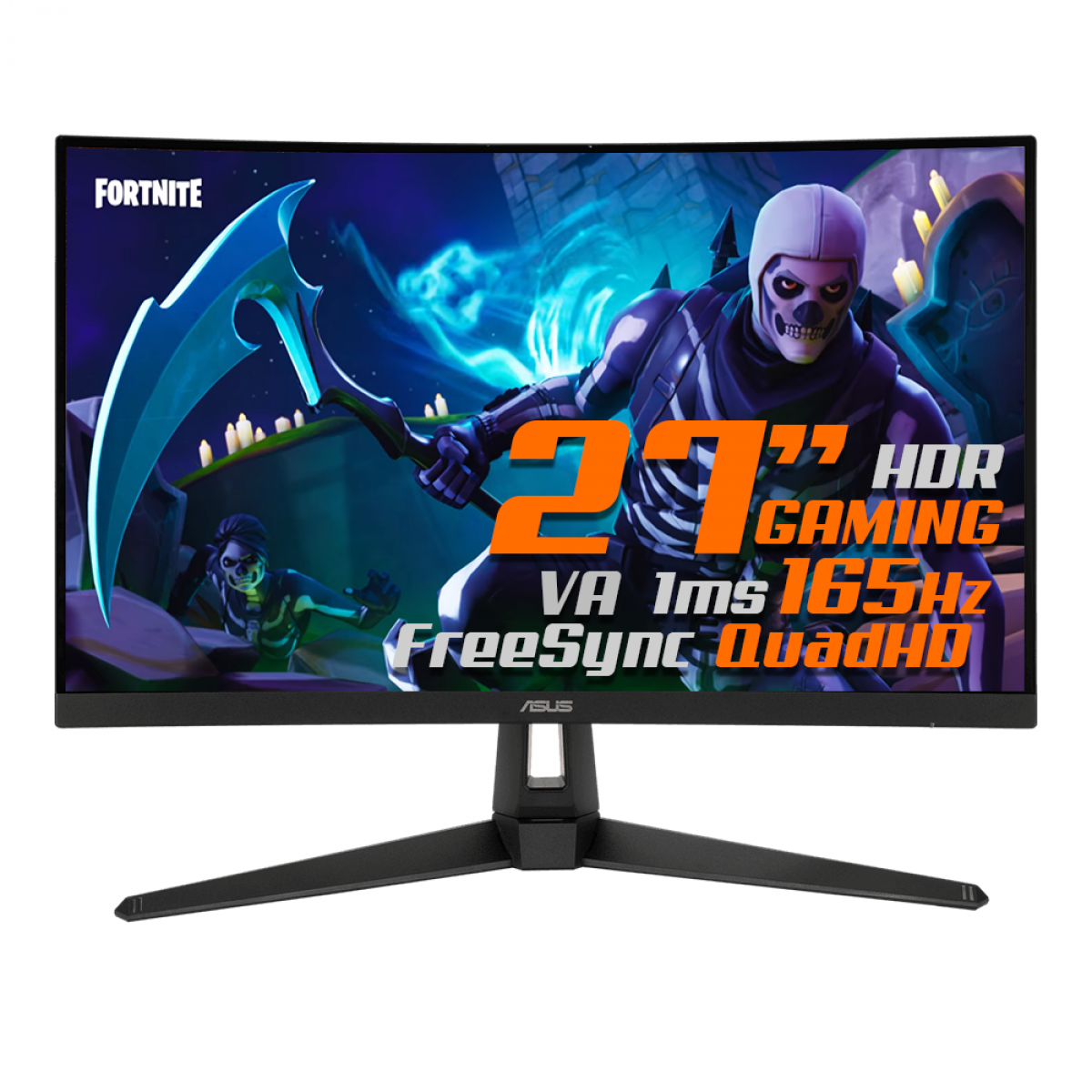 Monitor Gamer ASUS TUF Gaming, 27 Pol, Curvo, QuadHD, 165Hz, 1ms, HDR, FreeSync Premium, DP/HDMI, VG27WQ1B