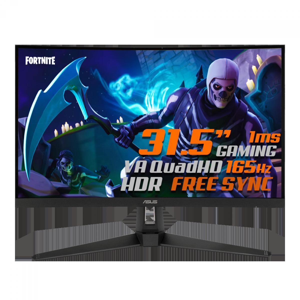 Monitor Gamer ASUS TUF Gaming, 31.5 Pol, Curvo, WideScreen QuadHD, 165Hz, 1ms, HDR, FreeSync Premium, DP/HDMI, VG32VQ1B