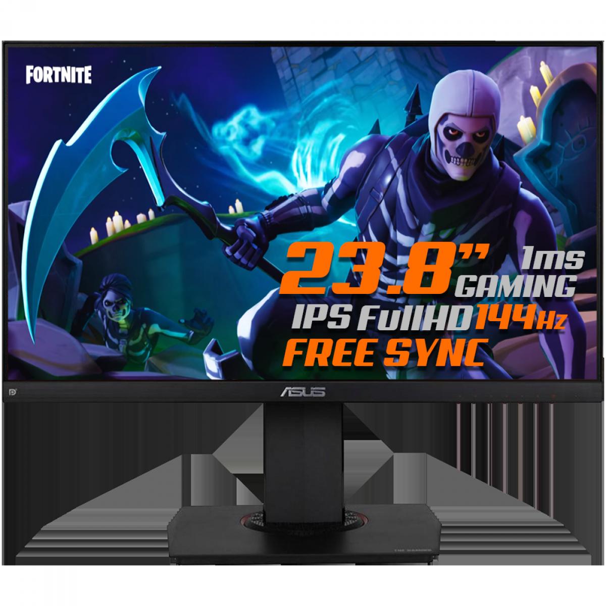 Monitor Gamer Asus TUF Gaming Led 23,8 Pol, Widescreen, Full HD, 144Hz, 1ms, IPS, HDMI, DisplayPort, FreeSync Premium, Altura Ajustável, VG249Q