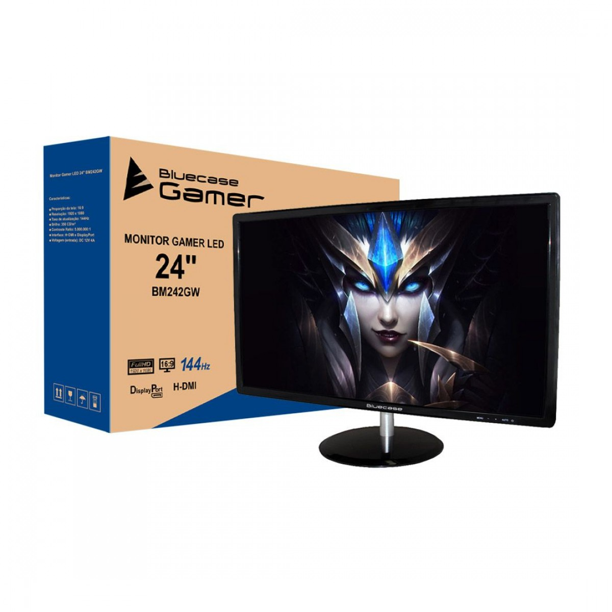 Monitor Gamer Bluecase 24 Pol, Full HD, 144Hz, 1ms, HDMI, BM242GW