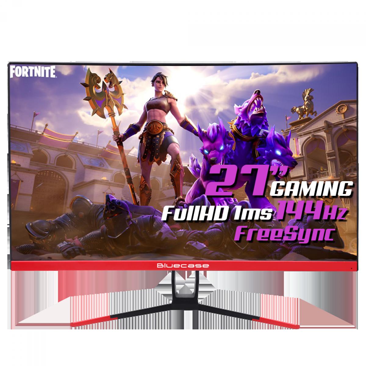 Monitor Gamer Curvo Bluecase 27 Pol, Full HD, 144Hz, 1ms, DisplayPort/HDMI, BM275GC
