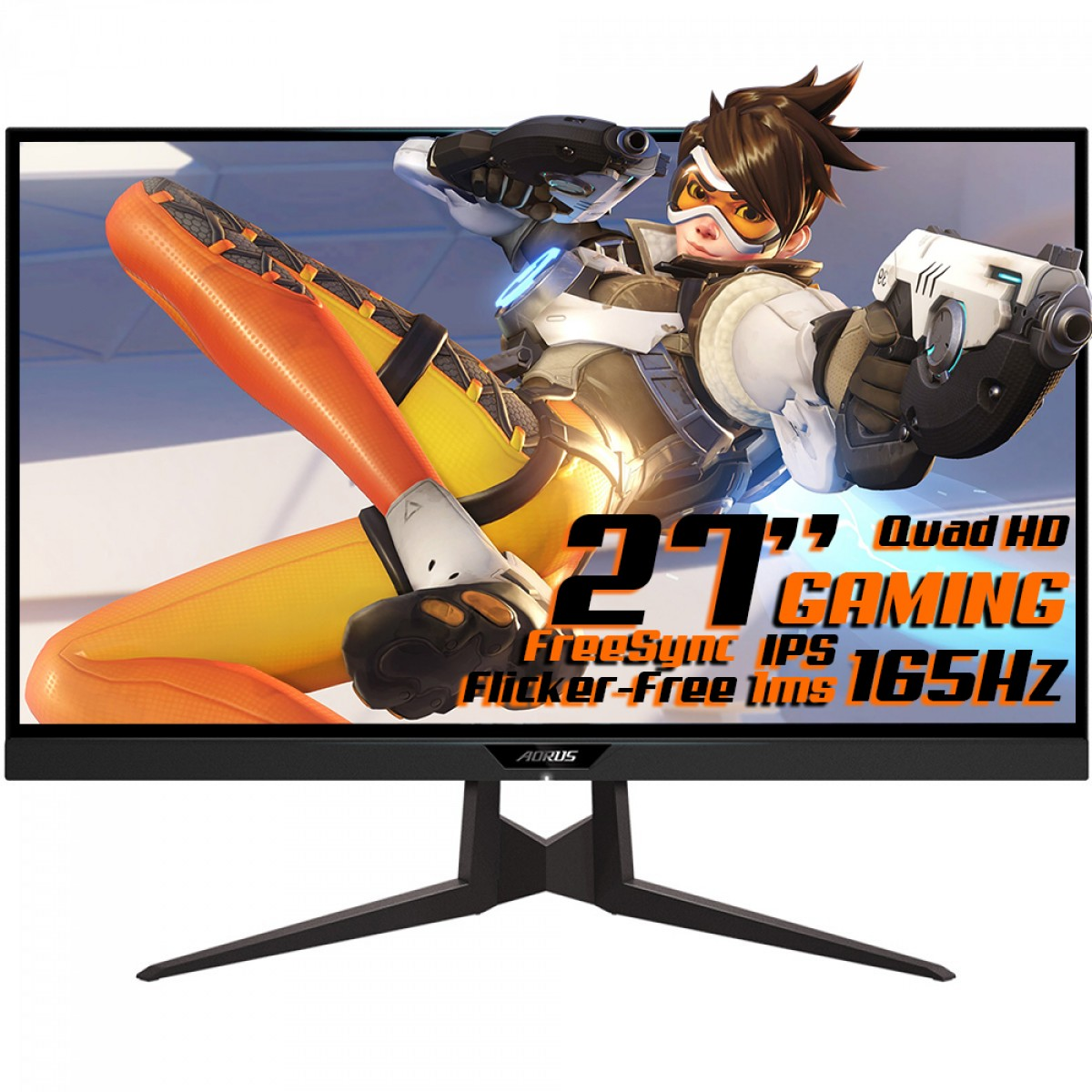Monitor Gamer Gigabyte Aorus FI27Q-P, 27 Pol, QuadHD, 165Hz, 1ms, IPS, FreeSync, HDR, DP/HDMIx2, 20VM0-AFI27QPBA-1SAR