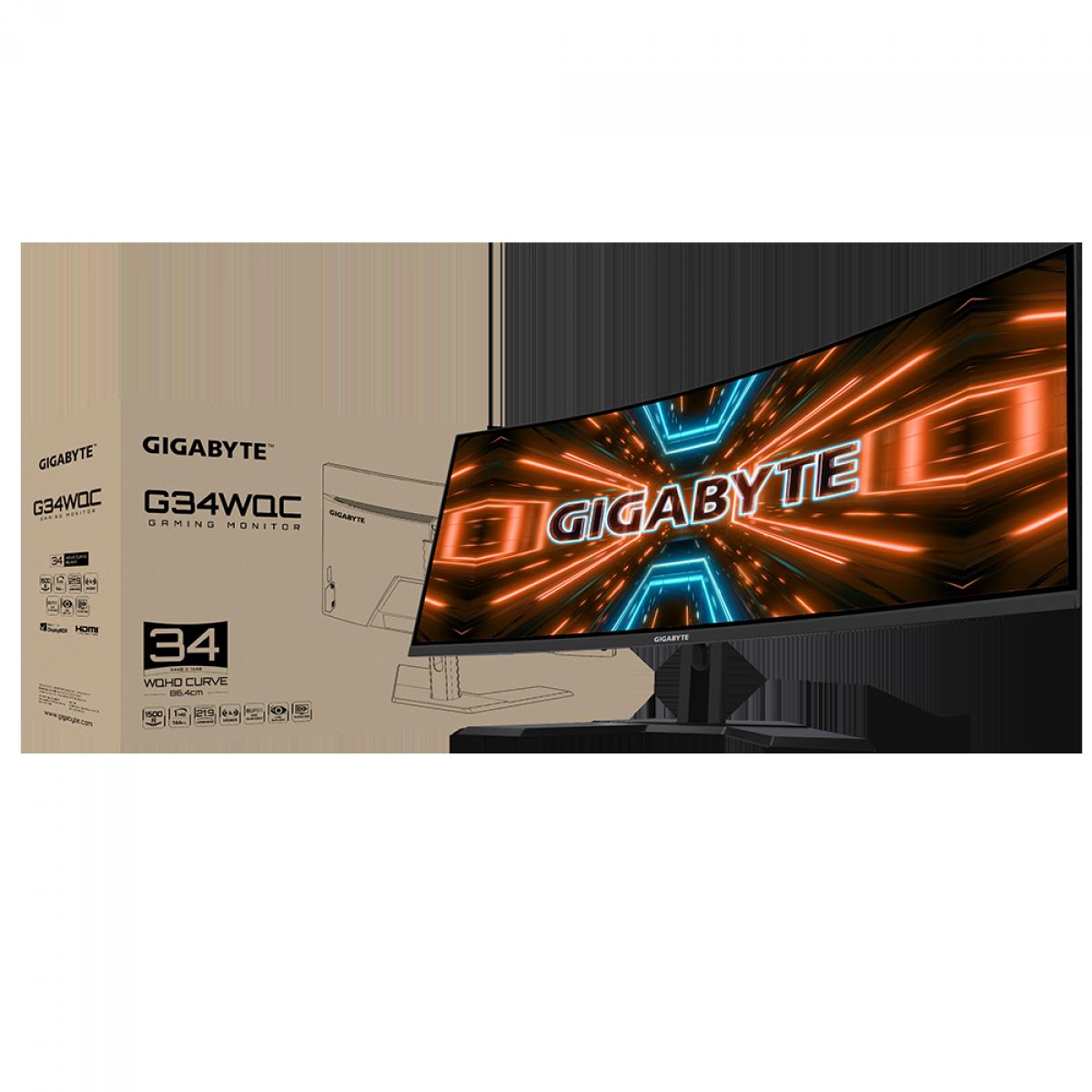 Monitor Gamer Gigabyte G34WQC, 34 Pol, WQHD, 144Hz, 1ms, VA, FreeSync, HDR, DP/HDMIx2, 20VM0-GG34WQCBI-1SAR