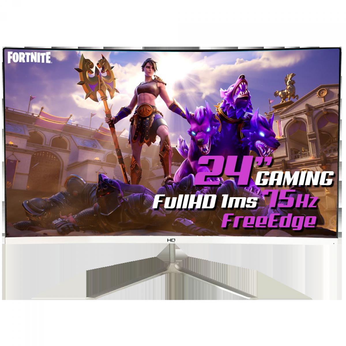 "Monitor Gamer HQ 24"", Curvo, 1MS, Full HD, Free Edge, HDMI, White, 24 HQ CURVO WHITE"