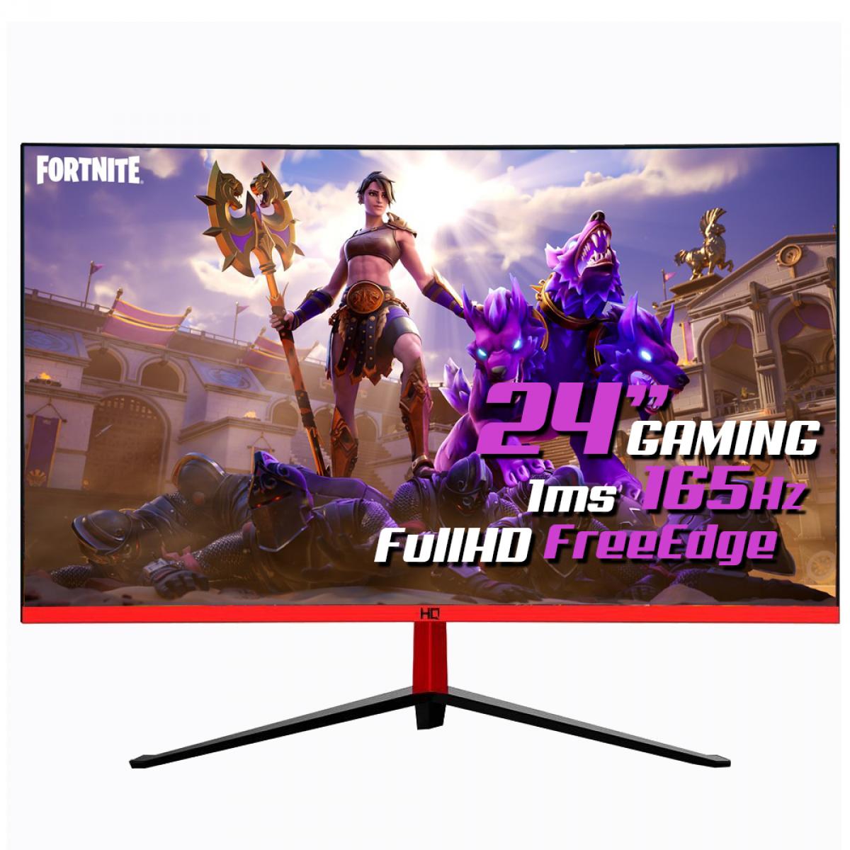 """Monitor Gamer HQ 24"""", LED, RGB, 165hz, 1ms, Curvo,  Freesync, Borda Ultra Fina, 24GHQ-BLACK RGB R3000"""
