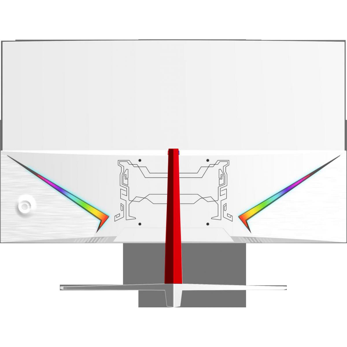 """Monitor Gamer HQ 24"""", LED, RGB, 165hz, 1ms, Curvo, Freesync, Borda Ultra Fina, 24GHQ-WHITE RGB R3000"""