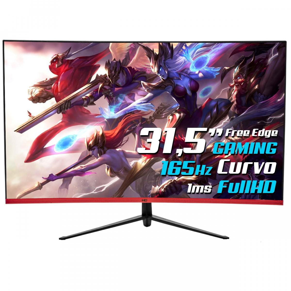 Monitor Gamer HQ Curvo 31.5 Pol, Full HD, 165Hz, 1ms, HDMI, Display Port