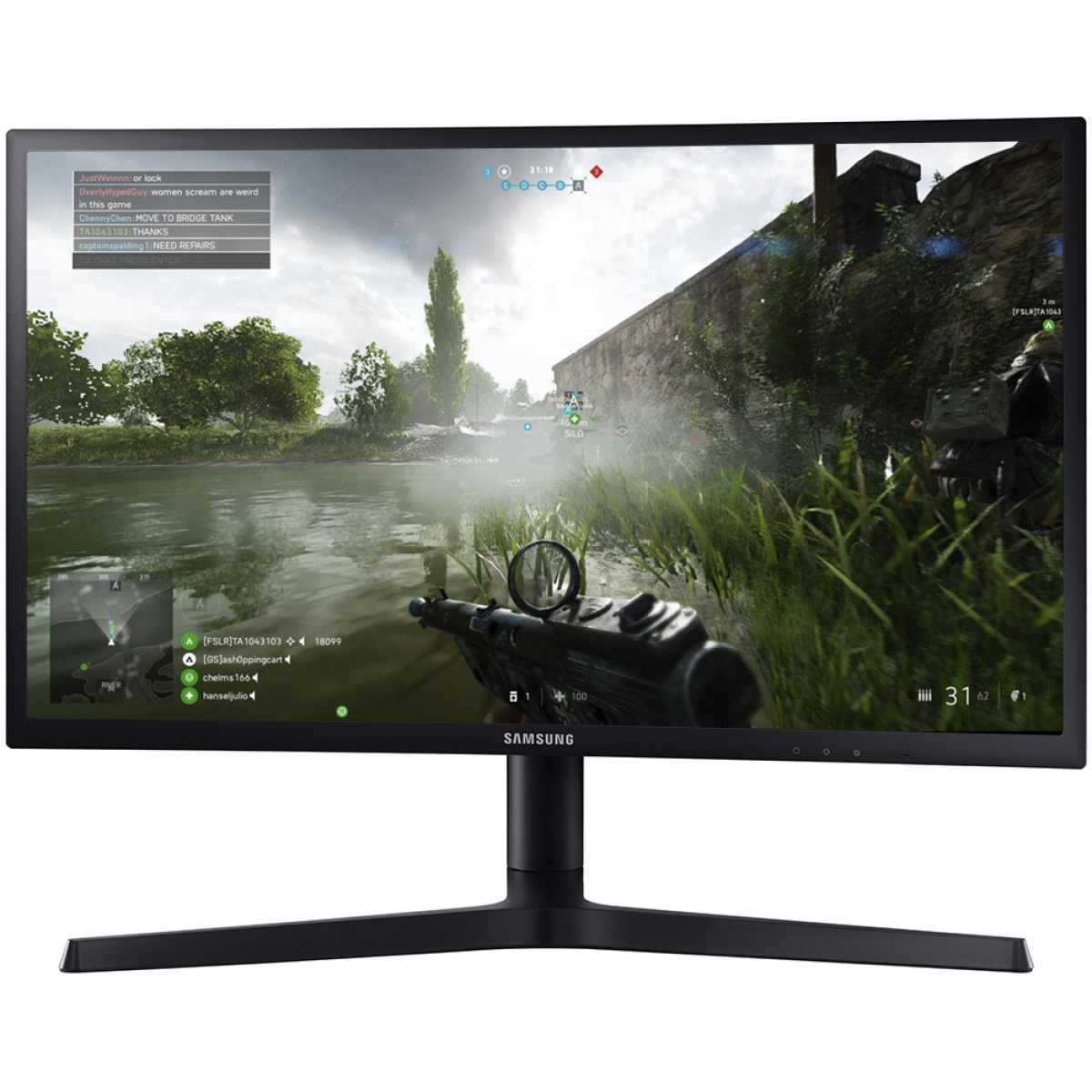 Monitor Gamer Samsung 23.5 Pol, Full HD, QLED, 144HZ, 1ms, LC24FG73FQLXZD