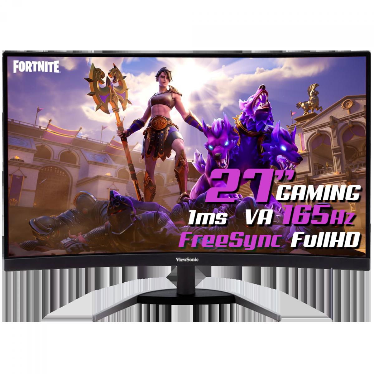 Monitor Gamer ViewSonic, 27 Pol, Curvo, FullHD, 165Hz, 1ms, HDMI/DP, VX2768-PC-MHD
