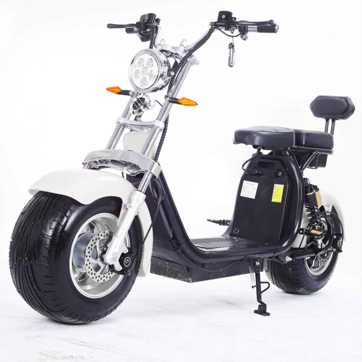 Moto Elétrica RideMode ECO 2000w, Aluminium, White, EM-02-BW