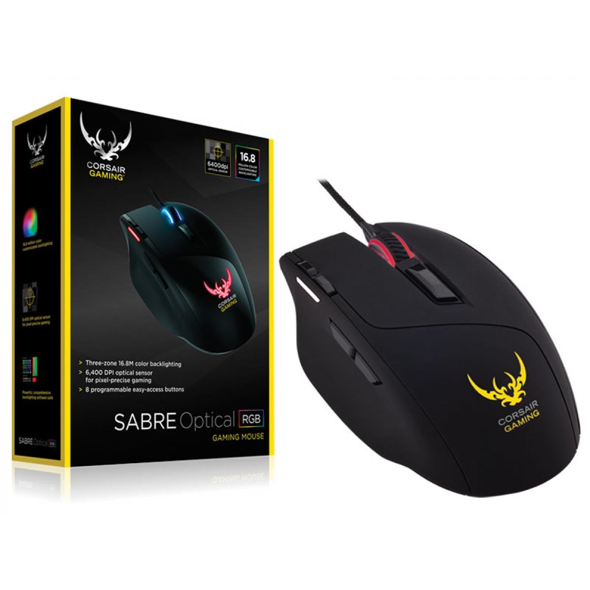 Mouse Corsair Gamer Sabre RGB Led Customizável 8 Botões 8.200 DPI Preto