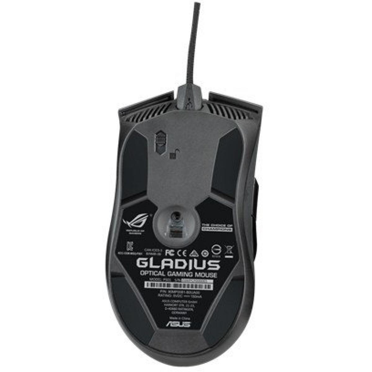 Mouse Gamer Asus Laser Rog Gladius 6400 DPI 2 Botões Programáveis Preto