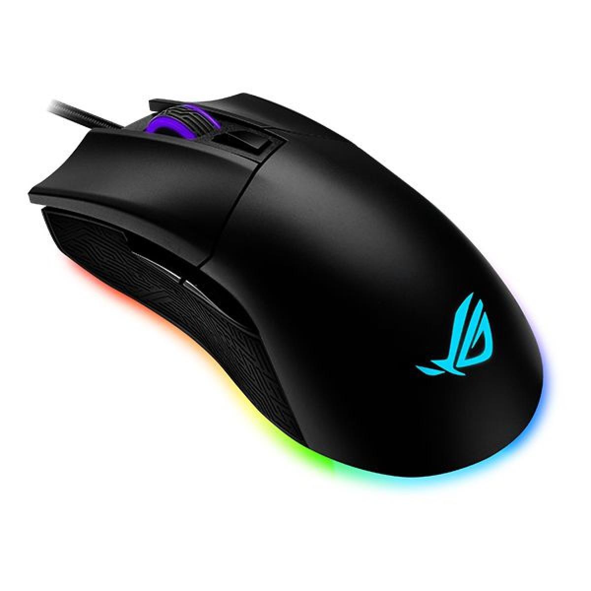 Mouse Gamer Asus Rog Gladius II Origin RGB, 12000 DPI, 5 Botões, Óptico, Black, 90MP00U1-B0UA00