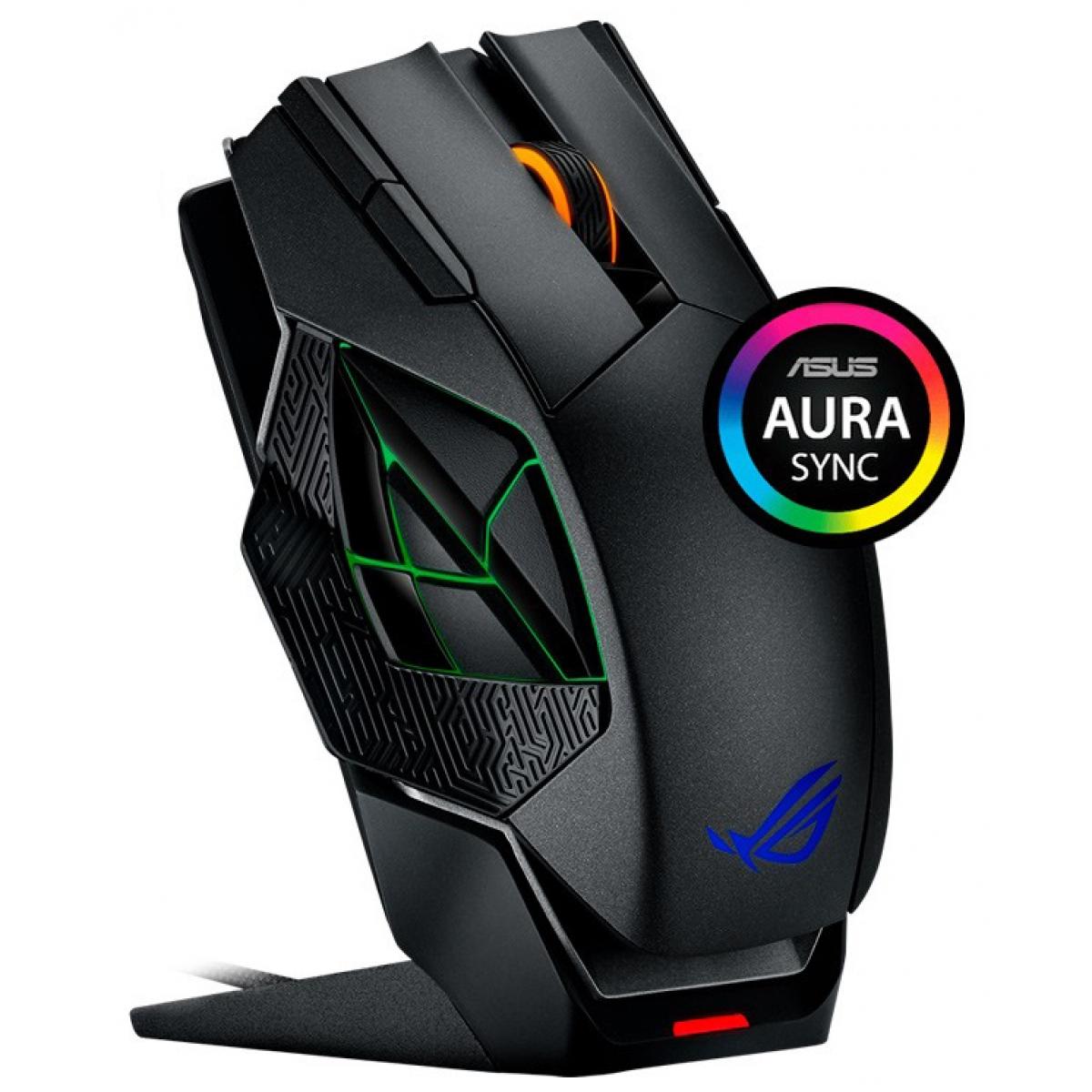 Mouse Gamer Asus Rog Spatha, 8200 DPI, 12 Botões Programáveis, Black, L701-1A