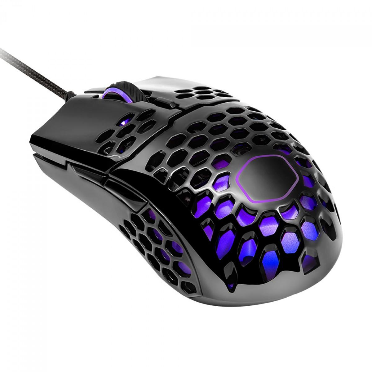 Mouse Gamer Cooler Master MM711, 16000 DPI, 6 Botões, RGB, Glossy Black, MM-711-KKOL2