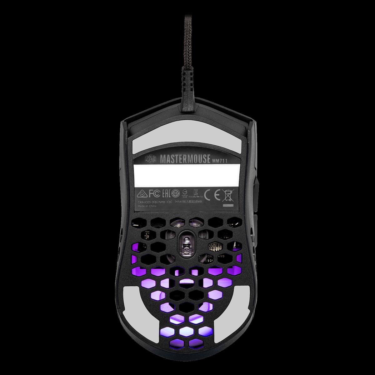 Mouse Gamer Cooler Master MM711, 16000 DPI, 6 Botões, RGB, Matte Black, MM-711-KKOL1