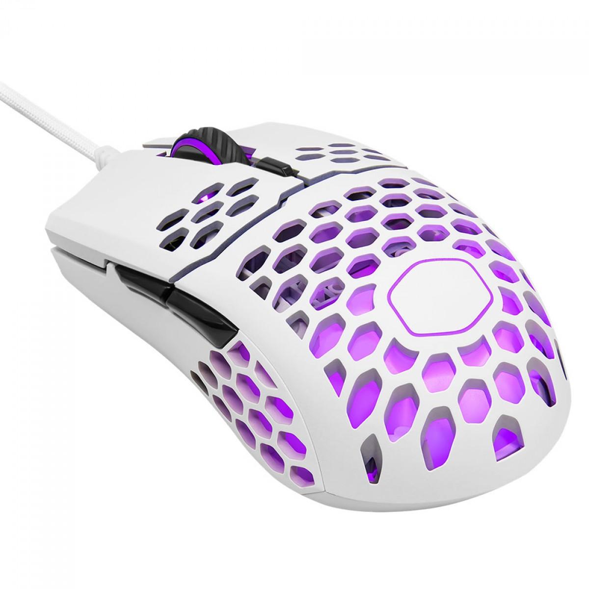 Mouse Gamer Cooler Master MM711, 16000 DPI, 6 Botões, RGB, Matte White, MM-711-WWOL1