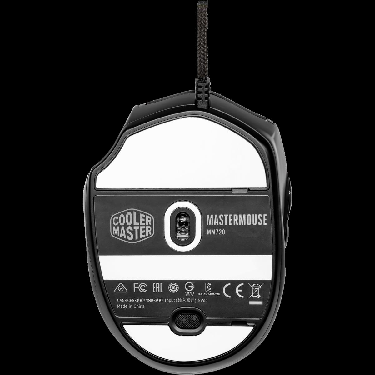 Mouse Gamer Cooler Master MM720, 16.000 DPI, 6 Botões, RGB, Glossy Black, MM-720-KKOL2