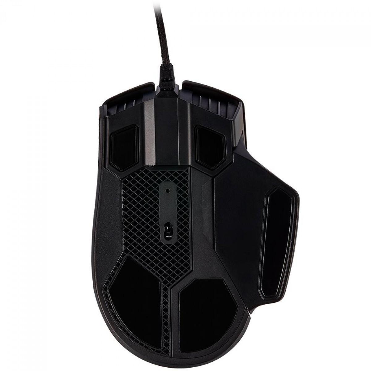 Mouse Gamer Corsair Glaive RGB PRO, 18.000 DPI, 7 Botões Programáveis, Black, CH-9302211-NA