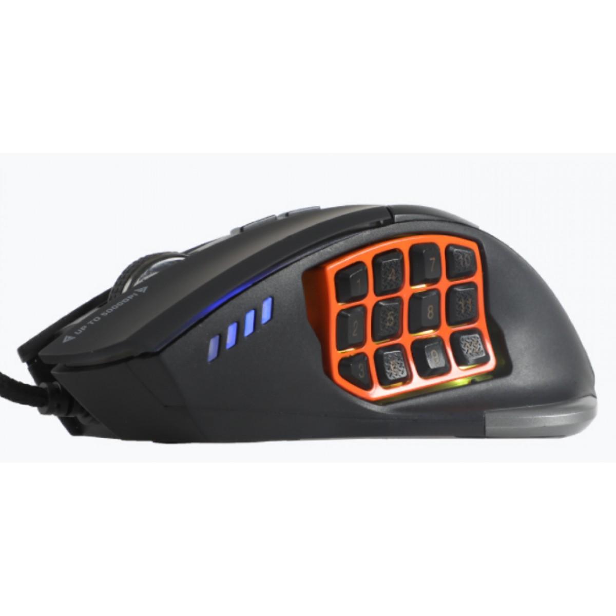 Mouse Gamer Dazz, Moba PRO, 5000DPI, USB, 17 Botões, 625294