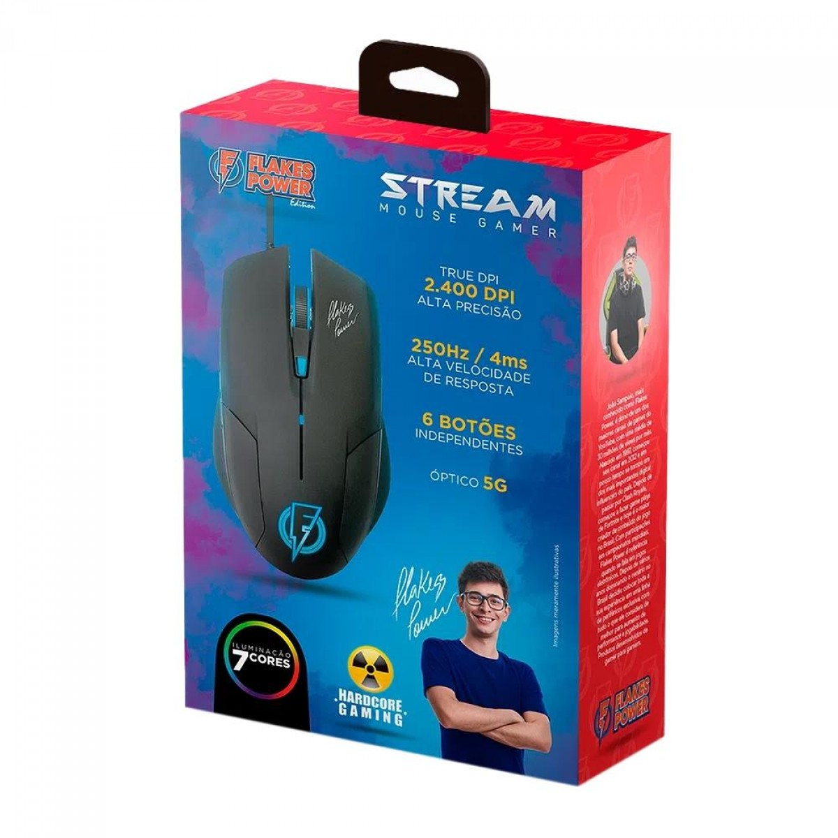 Mouse Gamer ELG Stream Flakes Power, 6 Botões, 2400 DPI, FLKM002