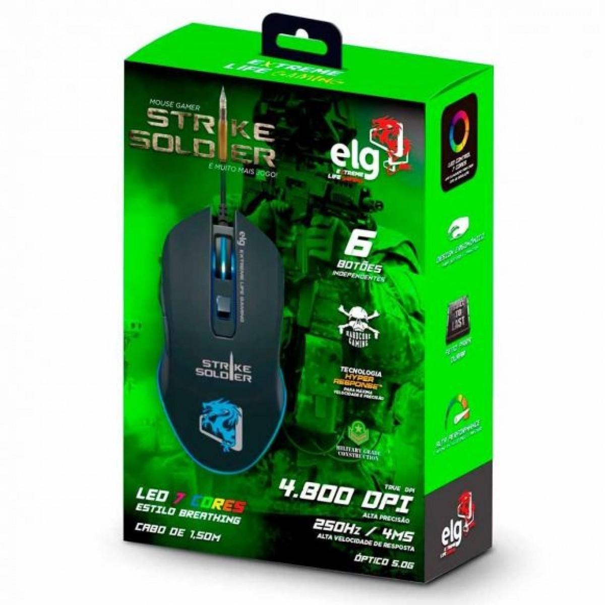 Mouse Gamer ELG Strike Soldier, 6 Botões, 4800 DPI, MGSS