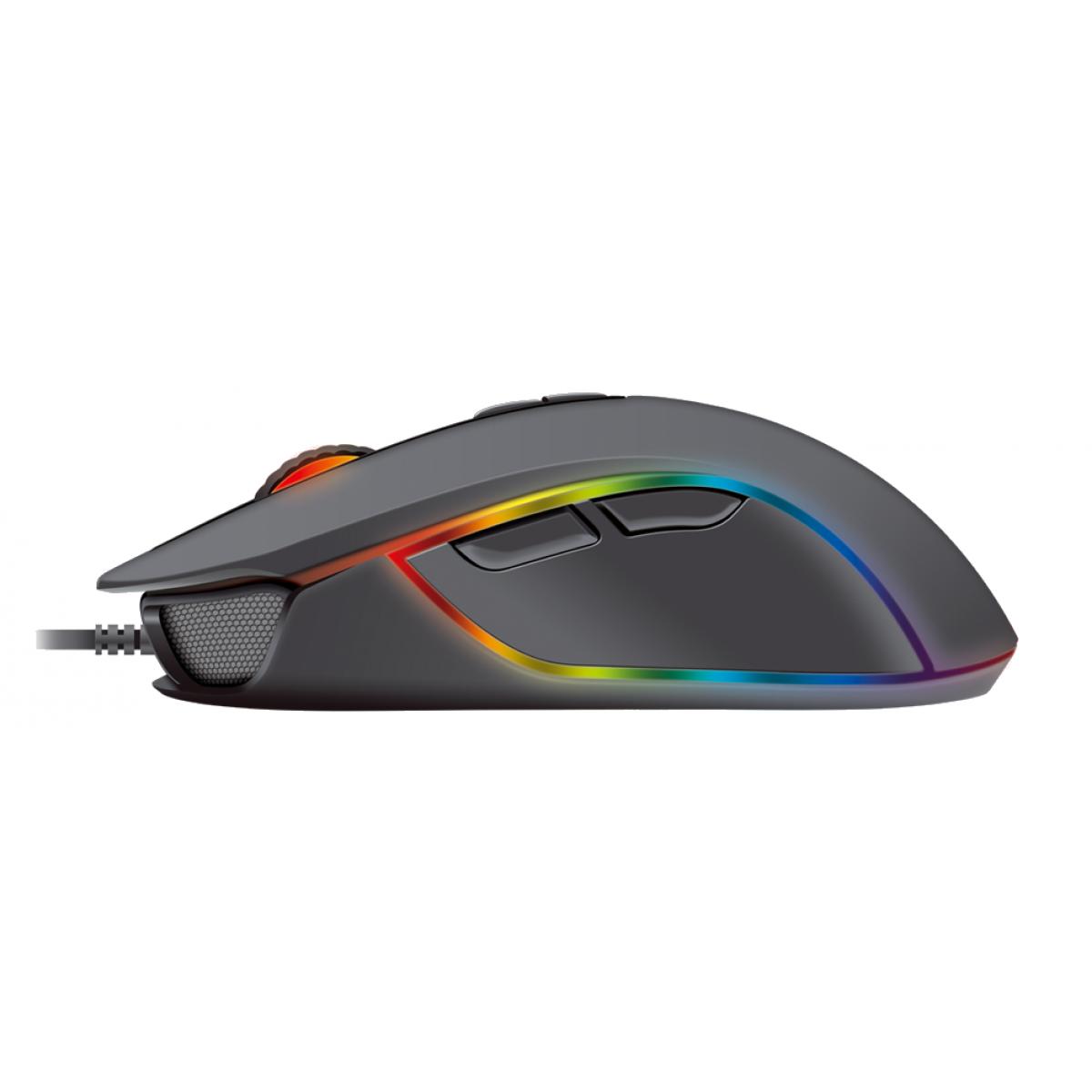 Mouse Gamer Fantech Thor X9, 4.800 DPI, 7 Botões, RGB, Black