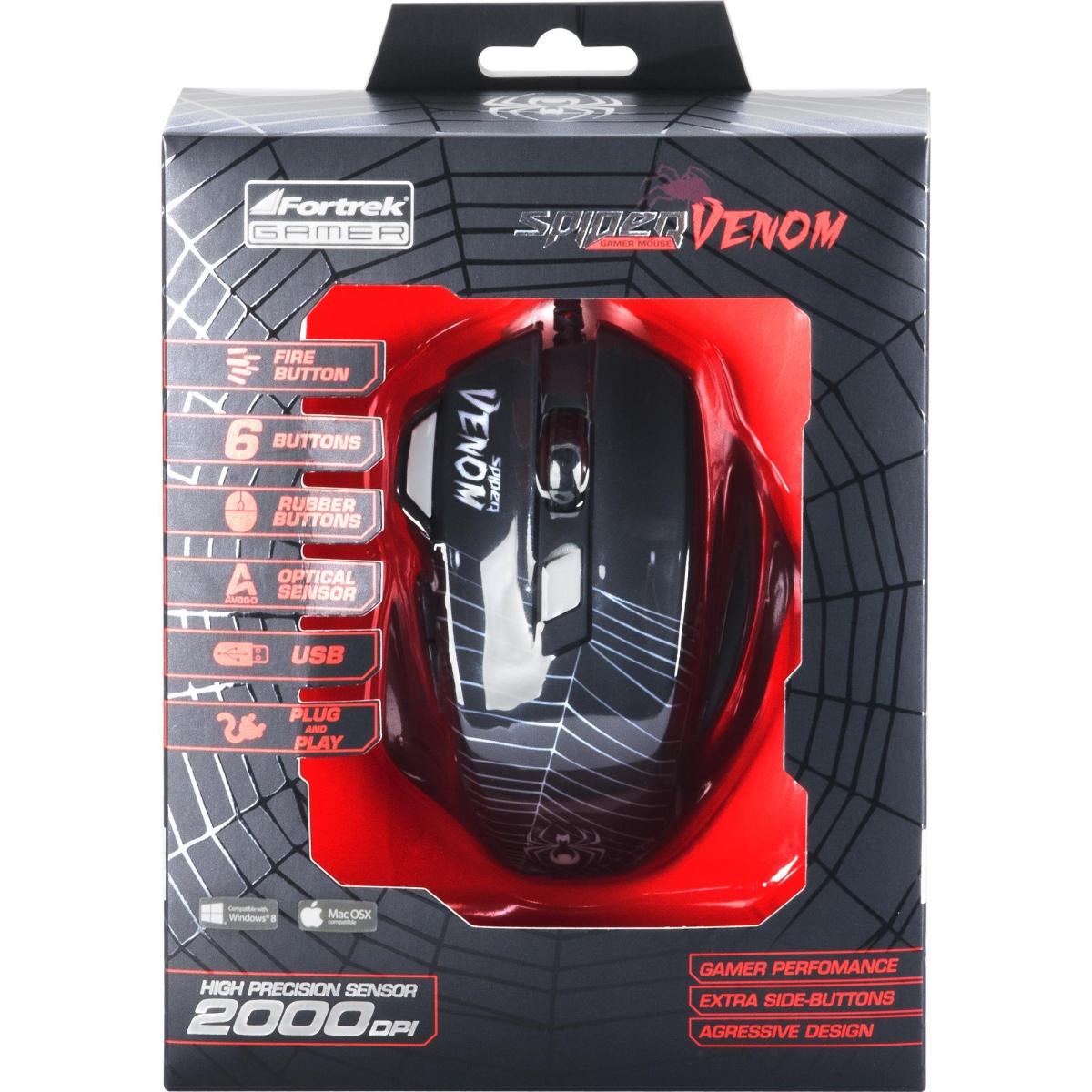 Mouse Gamer FORTREK SPIDER VENOM OM-704 7 BOTÕES 2000 DPI Black/Red