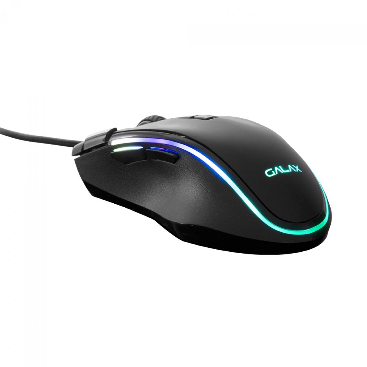 Mouse Gamer Galax Slider-01, 7200 DPI, 8 Botões, RGB, Black, MGS01IA18RG2B0