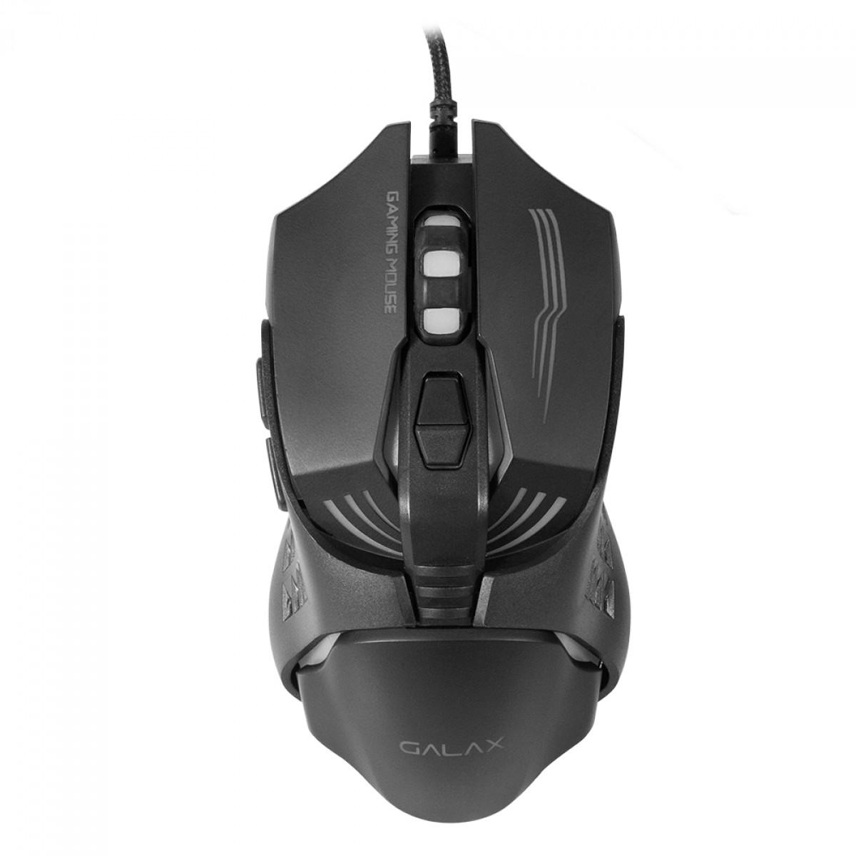 Mouse Gamer Galax Slider-02, 3200 DPI, 6 Botões, Black, MGS02S1A6RG2B0