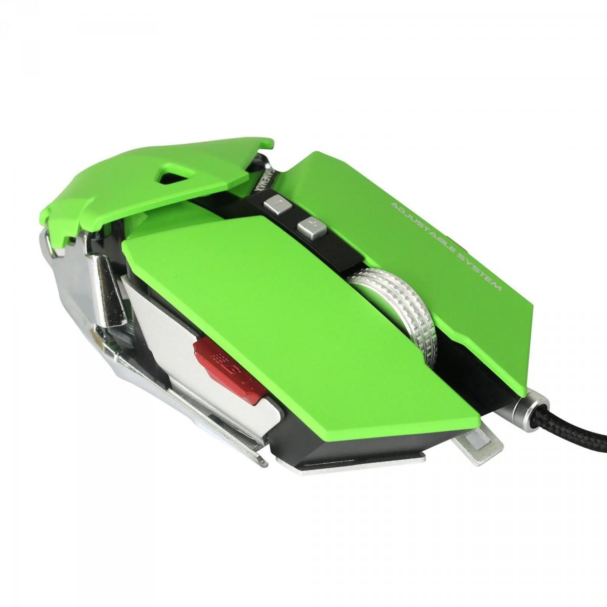 Mouse Gamer Gamemax, GX9 Metal, 4000 DPI, 10 Botões, Green, GX9