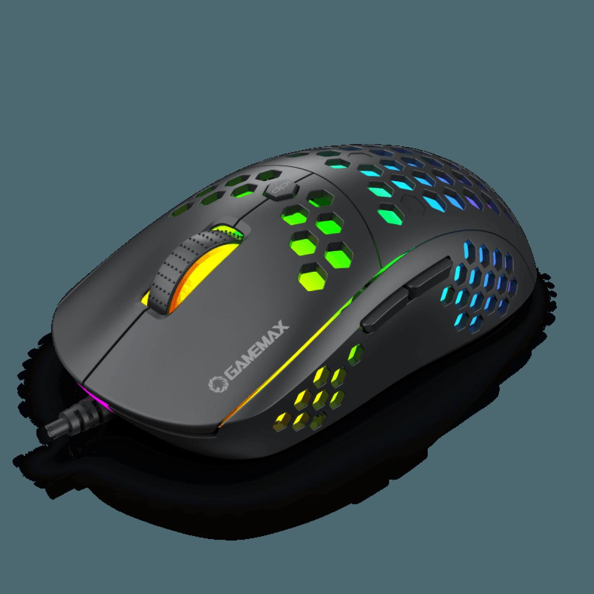 Mouse Gamer Gamemax MG8, 6400 DPI, RGB, Black
