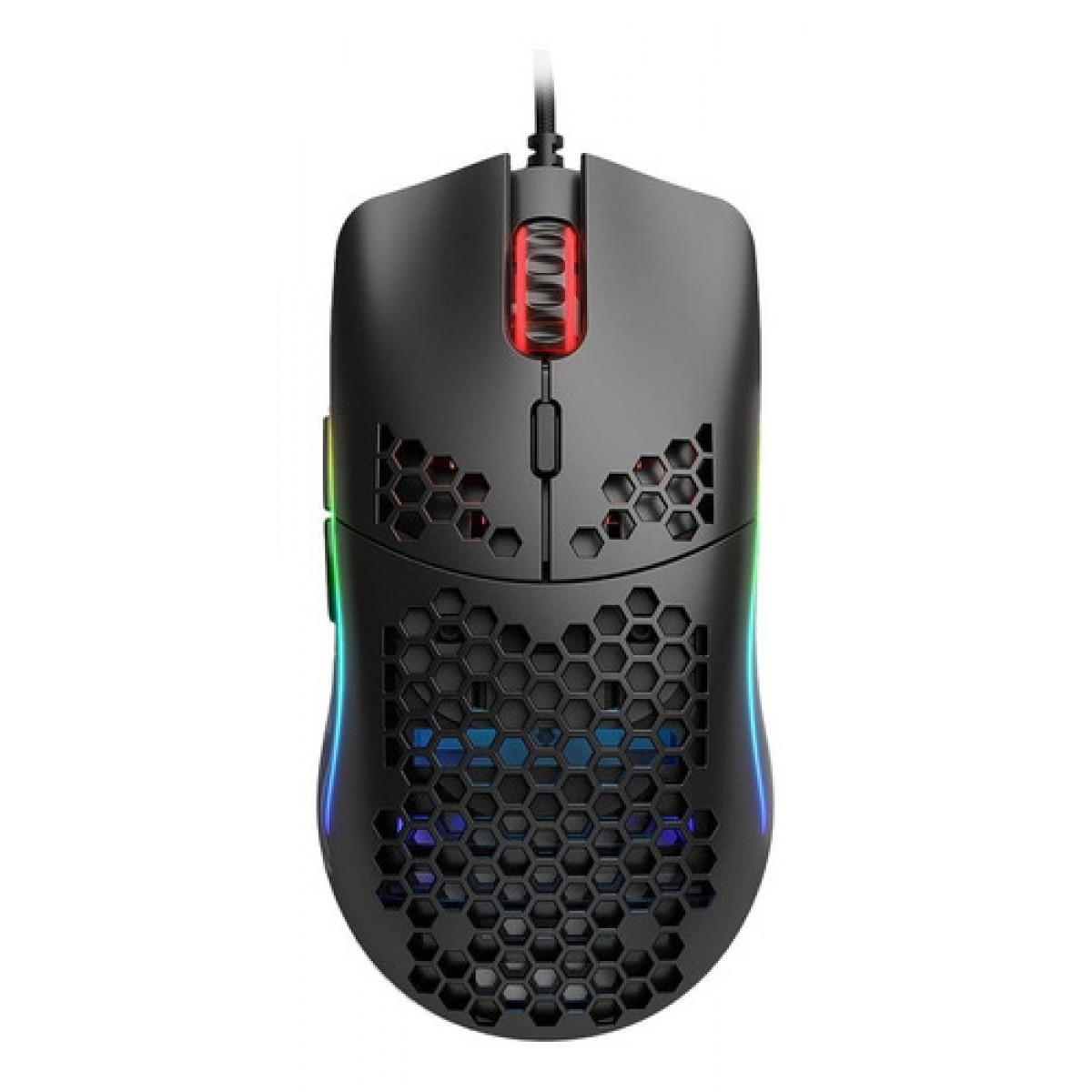 Mouse Gamer GLORIOUS MODEL O MATTE BLACK, 12000 DPI, 6 Botões, RGB, Black