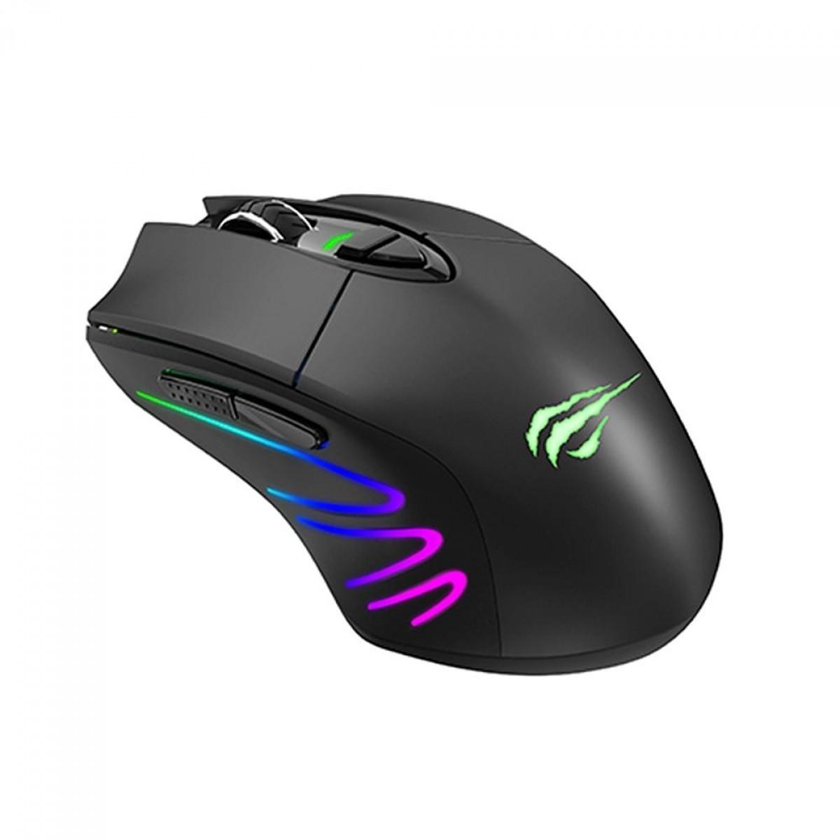 Mouse Wireless Gamer Havit MS1021W, 7000 DPI, 7 Botões, RGB, MS1021W