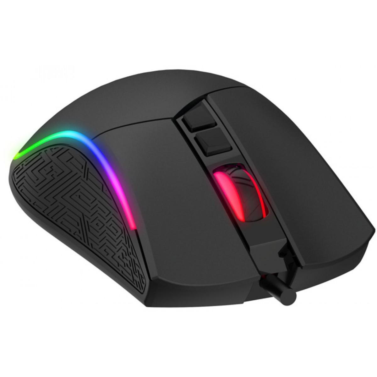 Mouse Gamer Havit MS1001 RGB 7 Botões 4800 DPI Black