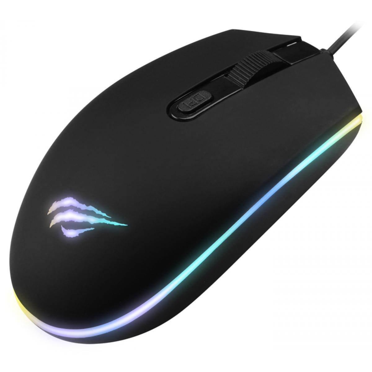 Mouse Gamer Havit MS1003 RGB 4 Botões 1200 DPI Black