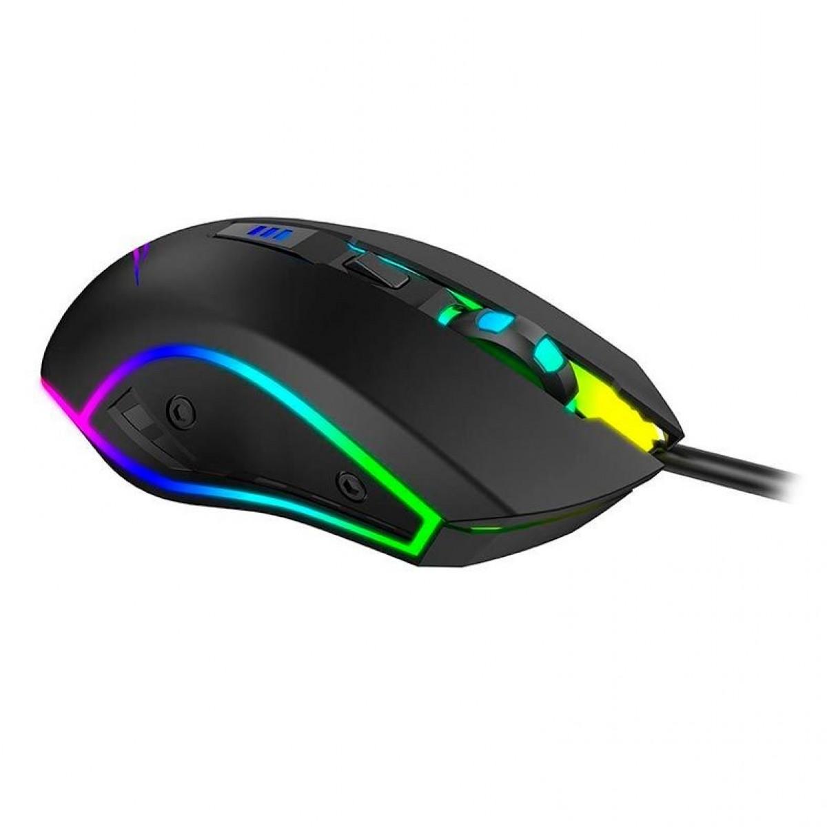 Mouse Gamer Havit MS1018 RGB, 6 Botões, 3200 DPI, Black