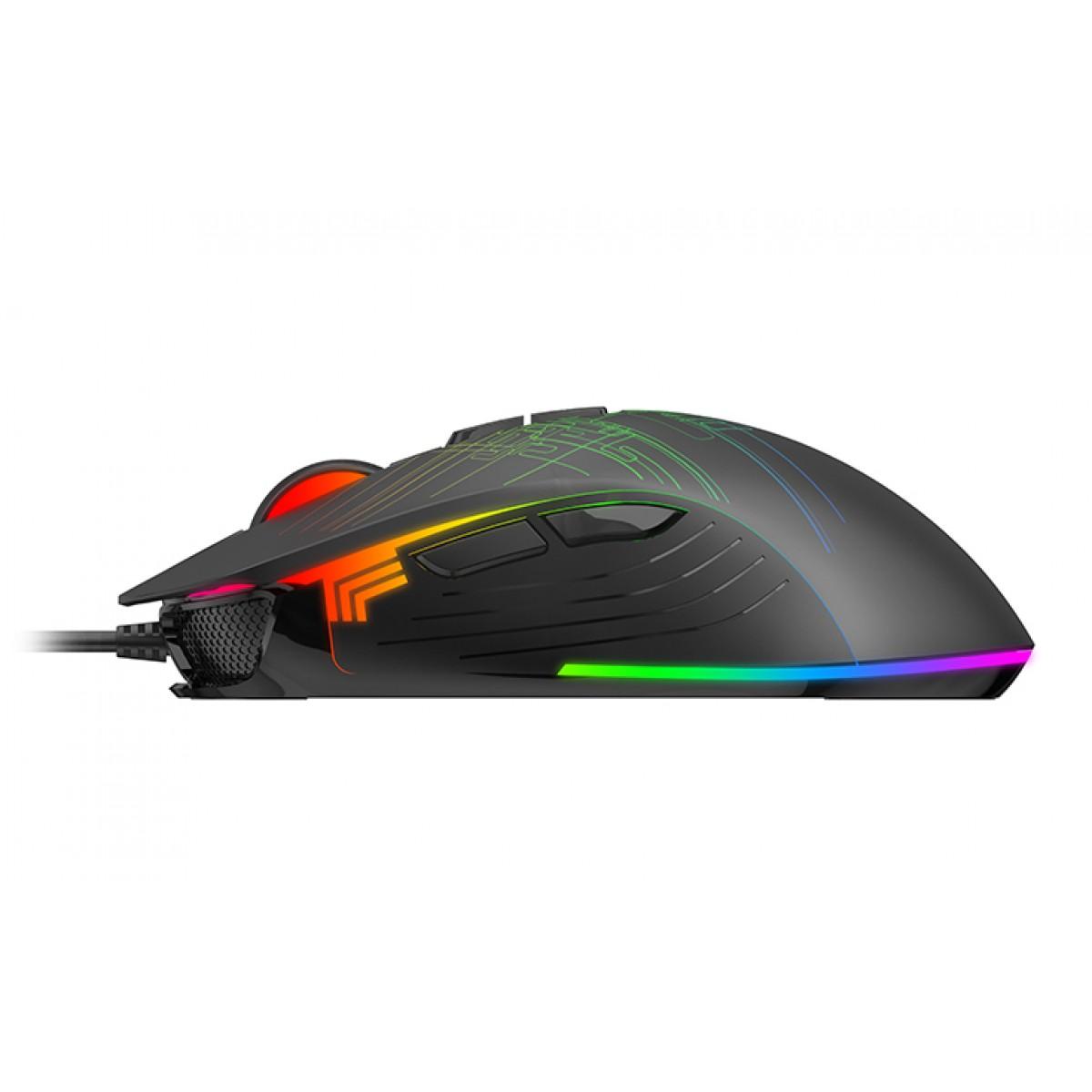 Mouse Gamer Havit MS1019, 4800 DPI, 7 Botões, RGB, Black