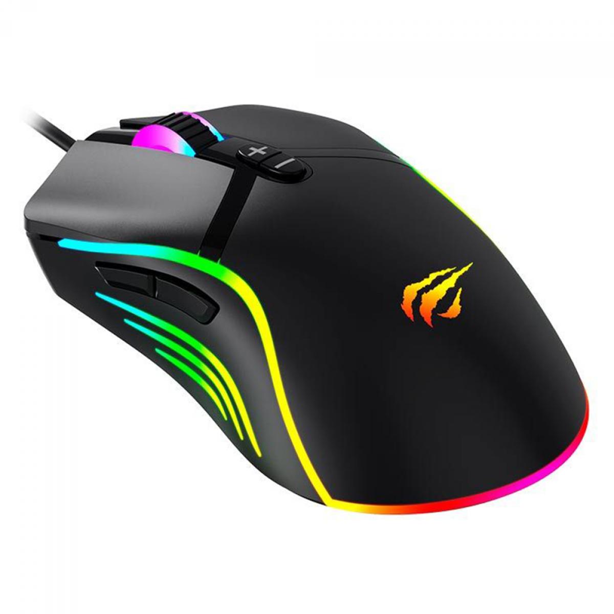 Mouse Gamer Havit MS1026, 6400 DPI, 7 botões, RGB, Black, HV-MS1026