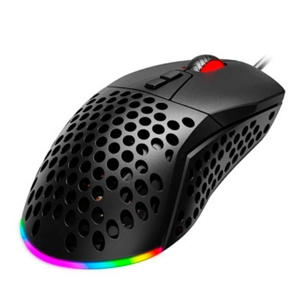 Mouse Gamer Havit MS885, 10000 DPI, 7 Botões, RGB, Black