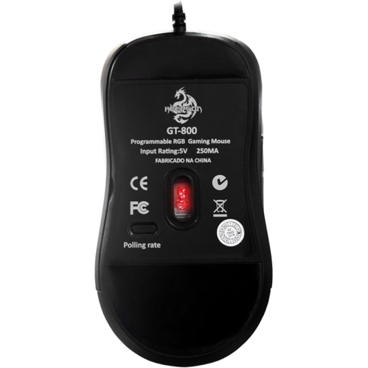 Mouse Gamer Hoopson Soldier RGB, 7200 DPI, 10 Botões, Black, GT800
