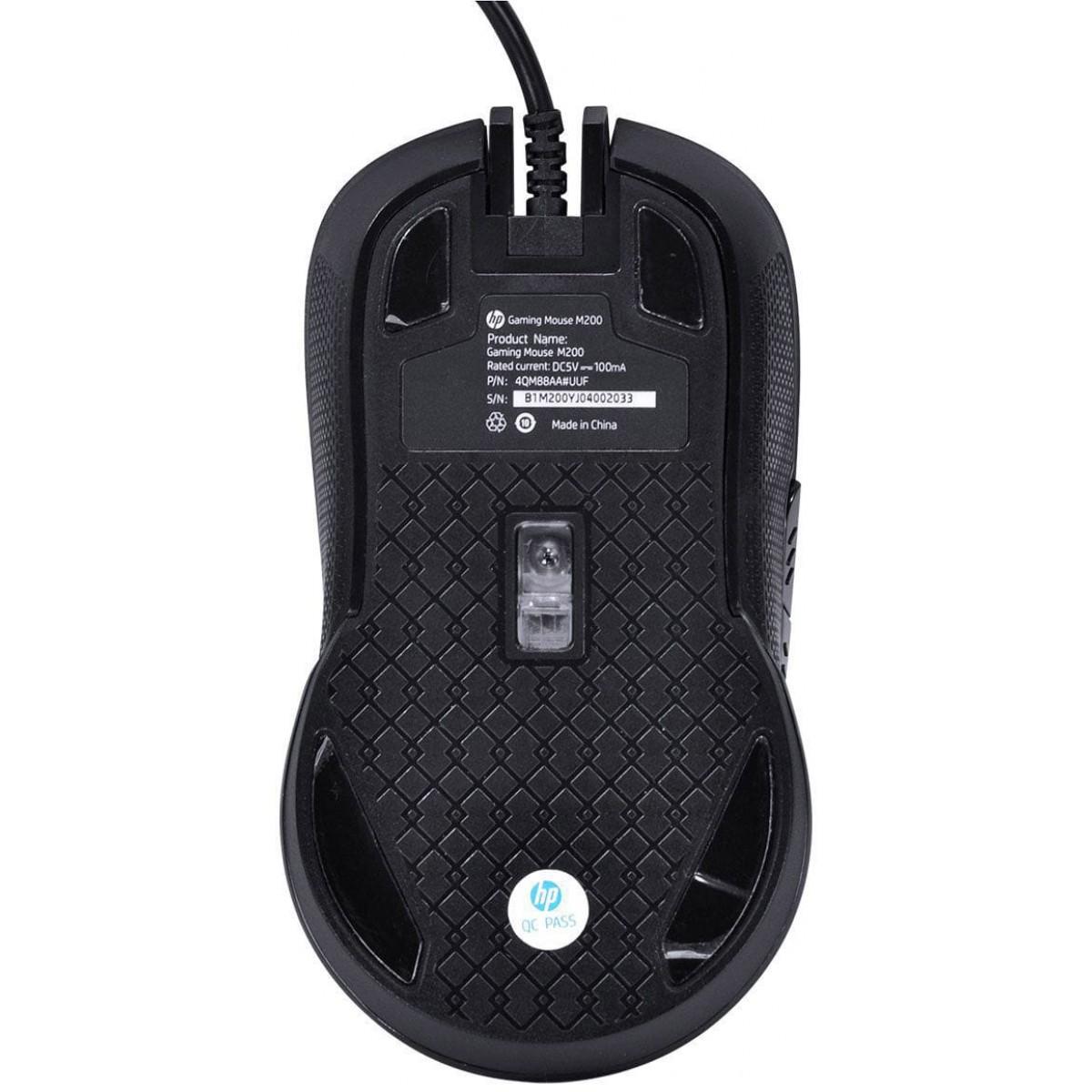 Mouse Gamer HP M200, 2400 DPI, Black