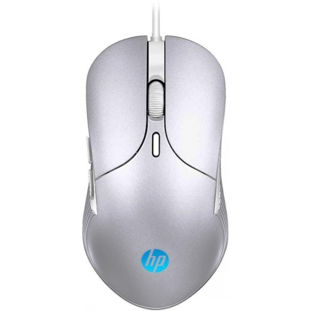 Mouse Gamer HP M280, 2400 DPI, LED RGB, 6 Botões Programáveis, Chumbo