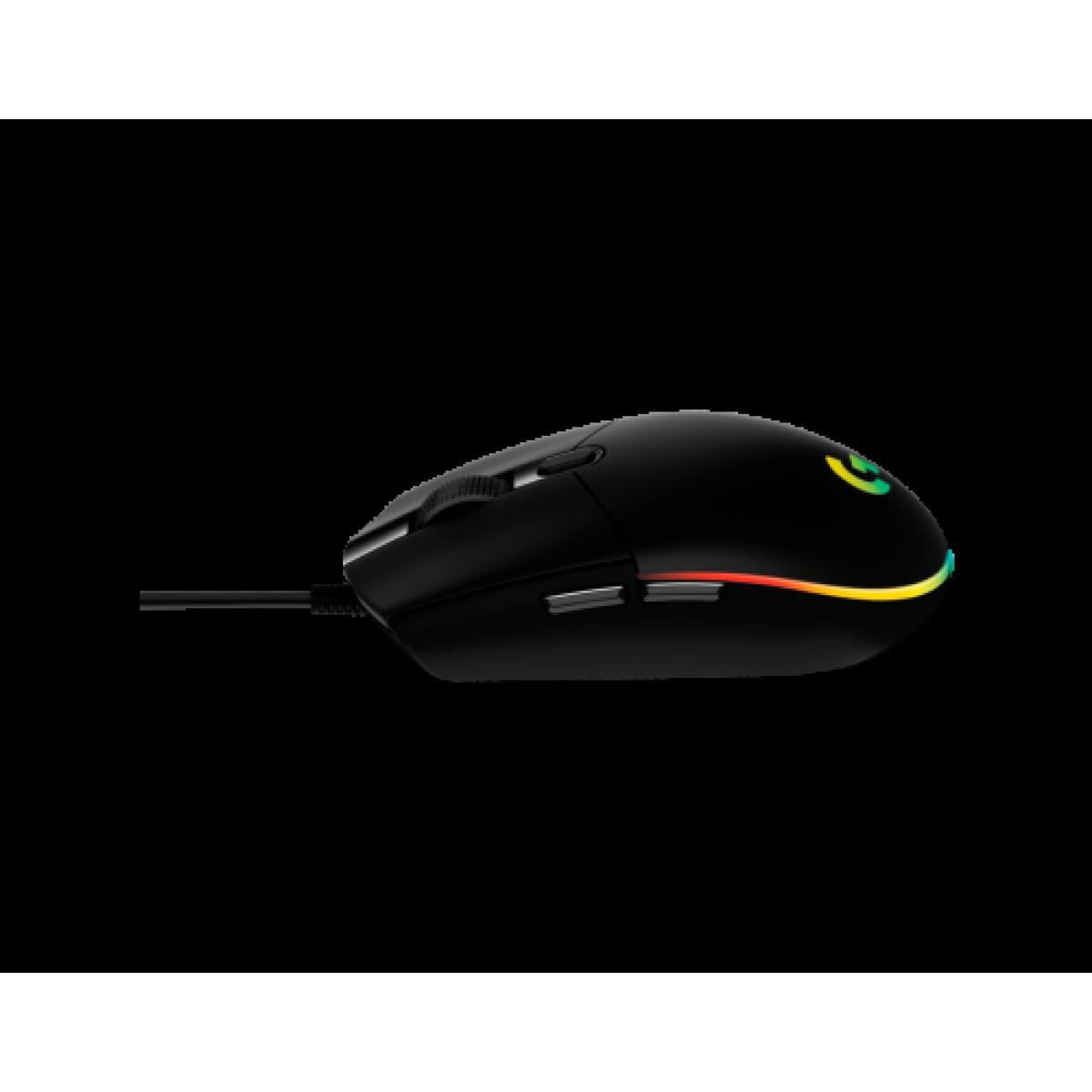Mouse Gamer Logitech G203 Lightsync RGB, 6 Botões Programáveis, 8000 DPI, Black, 910-005793